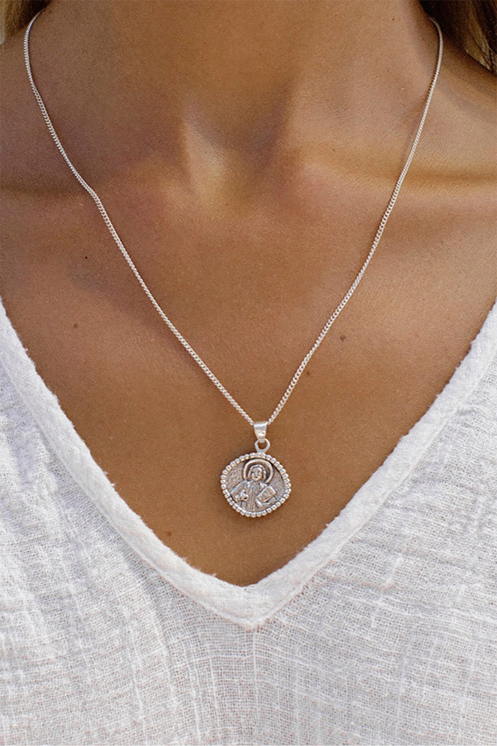 La Luna Rose St. John Patron Saint of Love and Friendships Necklace in Silver