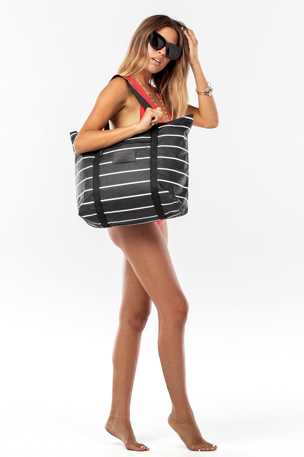 ALOHA Collection Zipper Tote in White Pinstripe on Black