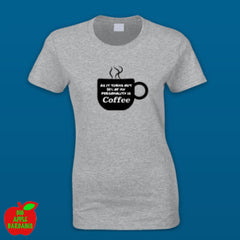 94% OF MY PERSONALITY IS COFFEE (Grey Female Shirt) ㋡ Big Apple Bargains