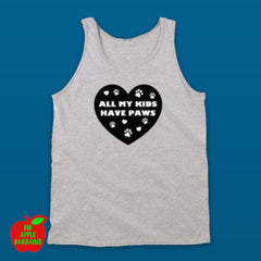 All My Kids Have Paws - Grey Tanktop ㋡ Big Apple Bargains