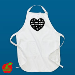 All My Kids Have Paws - White Apron ㋡ Big Apple Bargains