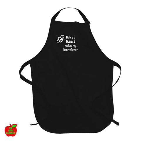 Being a Nana makes my heart flutter Black Apron ㋡ Big Apple Bargains