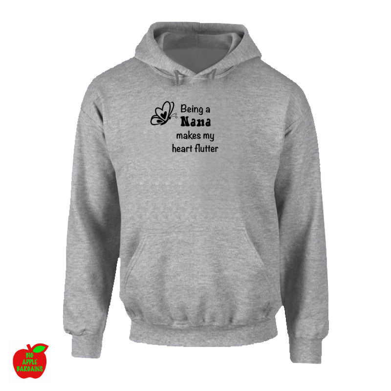 Being a Nana makes my heart flutter Grey Hoodie ㋡ Big Apple Bargains