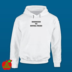 Exercise VS Extra Fries White Hoodie ㋡ Big Apple Bargains
