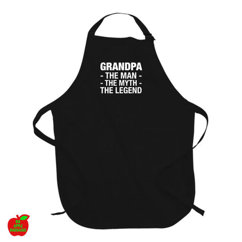 GRANDPA - The Man - The Myth - The Legend Black Apron ㋡ Big Apple Bargains