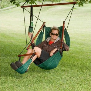 Green Adjustable Hanging Hammock Chair with Foot Rest ㋡ Big Apple Bargains