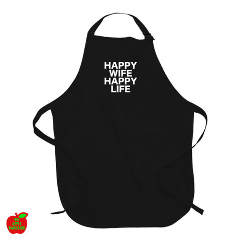 HAPPY WIFE HAPPY LIFE Black Apron ㋡ Big Apple Bargains