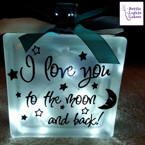 I Love You To The Moon And Back Block ★ Bottle Lights Galore ㋡ Big Apple Bargains