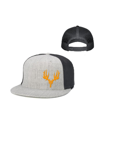 Flatbill Trucker Hat Gray/Orange