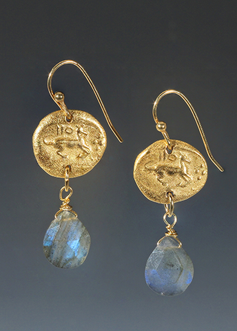 Roman Horse Medallion Earrings with Labradorite