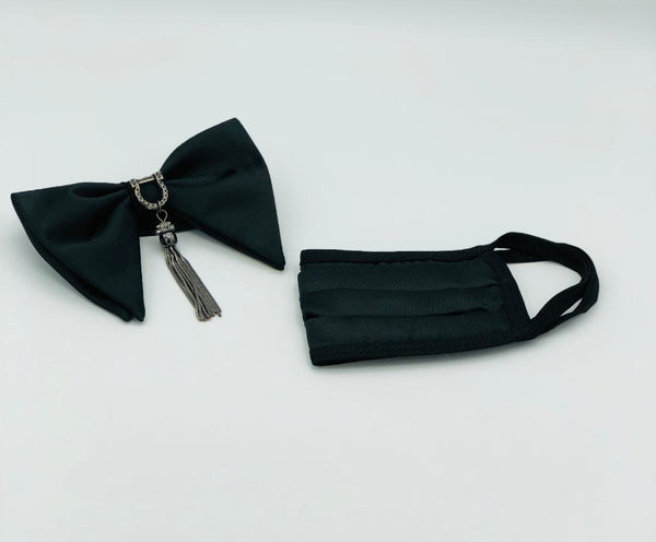 DROOPY BOW TIE WITH JEWELS AND FACE MASK