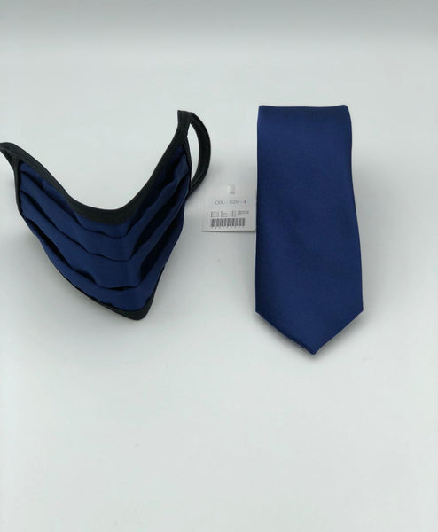 Face Mask & Tie Set S20-4 Solid Navy