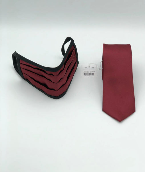 Face Mask & Tie Set S-L87 Burgandy