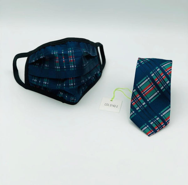 Face Mask & Tie Set S142-2 Navy/Green