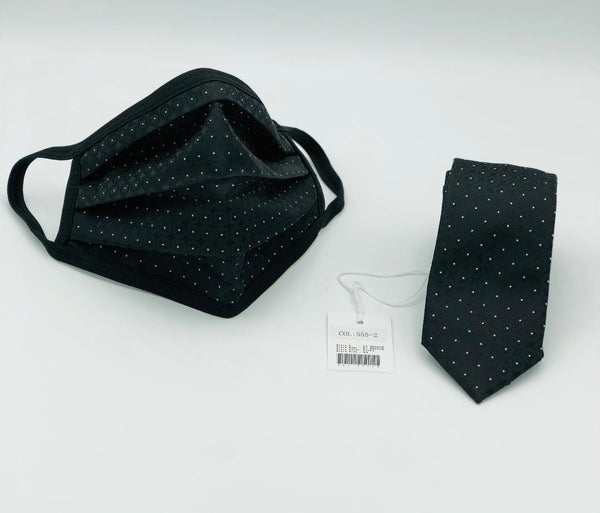 Face Mask & Tie Set S55-2 Black