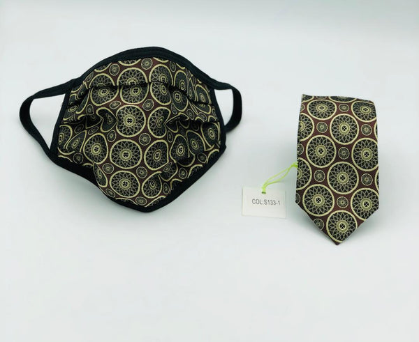 Face Mask & Tie Set S133-1 Brown/Gold