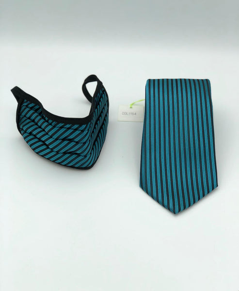 Classic Tie & Face Mask Set, 115-4 Teal green