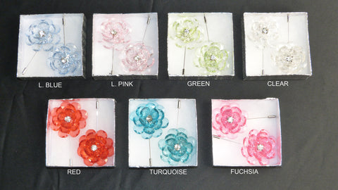CRYSTAL FLOWER LAPEL PINS