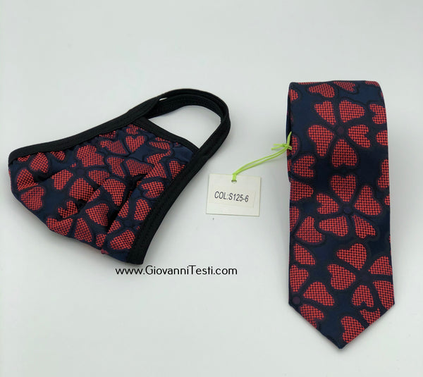 Face Mask & Tie Set S125-6, Navy / Red