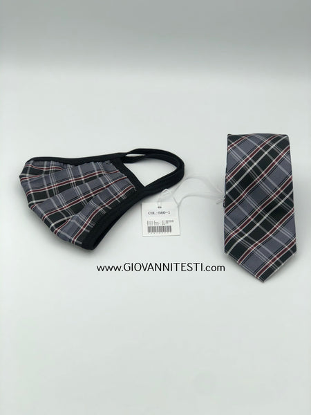 Face Mask & Tie Set S60-1, Black / Grey Plaid