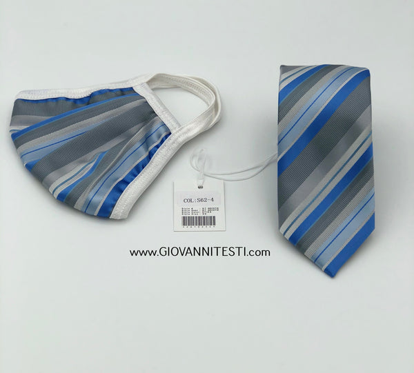 Face Mask & Tie Set S62-4, Grey / Blue Stripes