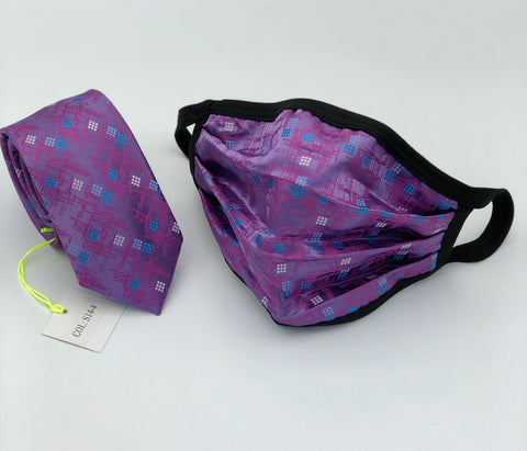 Face Mask & Tie Set S14-4, Lavender