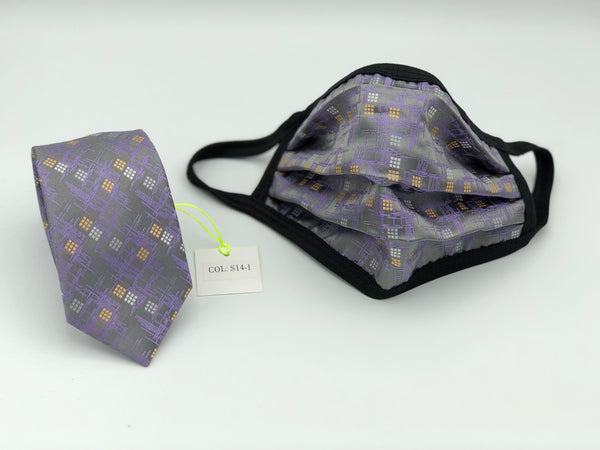 Face Mask & Tie Set S14-1, Grey