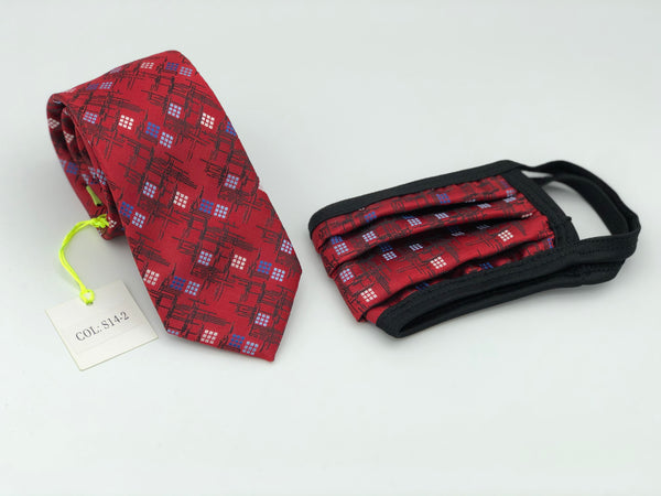 Face Mask & Tie Set S14-2, Red