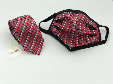 Face Mask & Tie Set S135-4, Burgundy Checkered