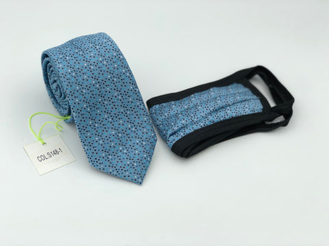 Face Mask & Tie Set S148-1, Blue Dot