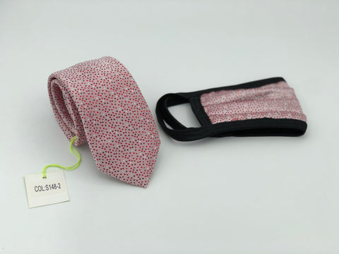 Face Mask & Tie Set S148-2, Pink Dot