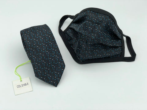 Face Mask & Tie Set S148-9, Turquoise Dot