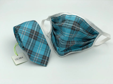 Face Mask & Tie Set S90-6, Turquoise Plaid