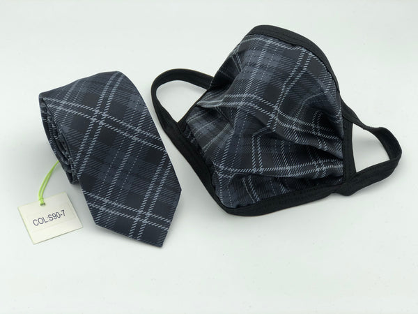 Face Mask & Tie Set S90-7, Black Plaid