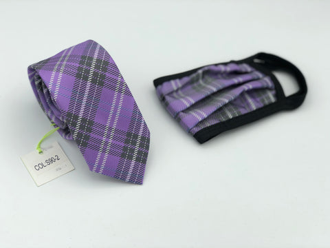Face Mask & Tie Set S90-2, Purple Plaid