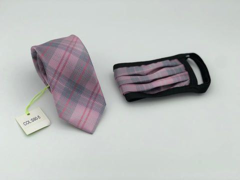 Face Mask & Tie Set S90-5, Pink Plaid