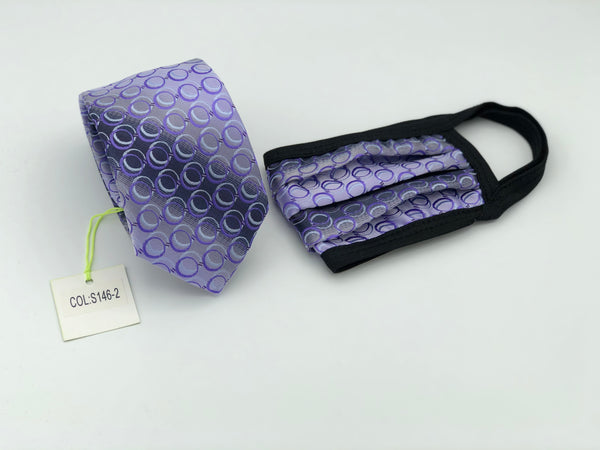 Face Mask & Tie Set S146-2, Purple Circles