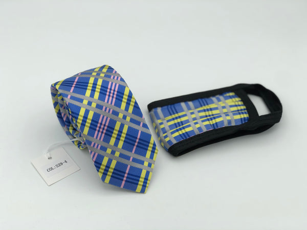 Face Mask & Tie Set S29-4, Blue / Yellow Plaid