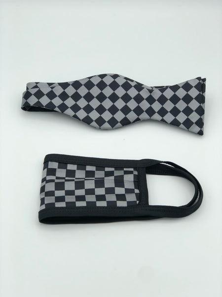Self Bow Tie & Face Mask Set, Grey Checkered BT13-4