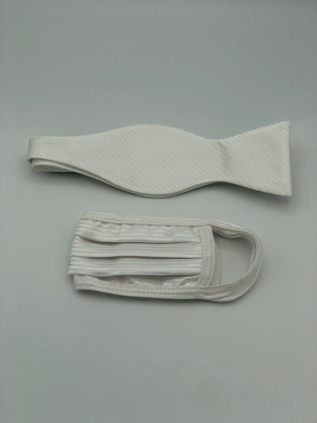 Self Bow Tie & Face Mask Set, Ivory Stripe