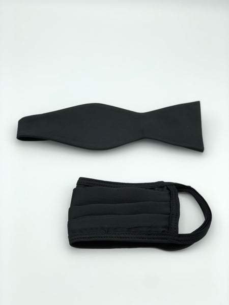 Self Bow Tie & Face Mask Set, Solid Black