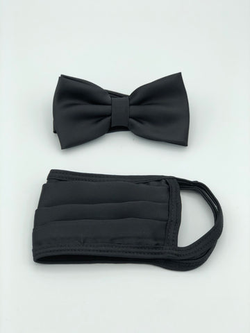 Bow Tie & Face Mask Set, Solid Black