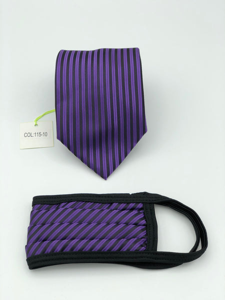 Classic Tie & Face Mask Set, 115-10 Purple
