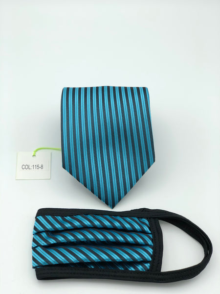 Classic Tie & Face Mask Set, 115-8 Turquoise