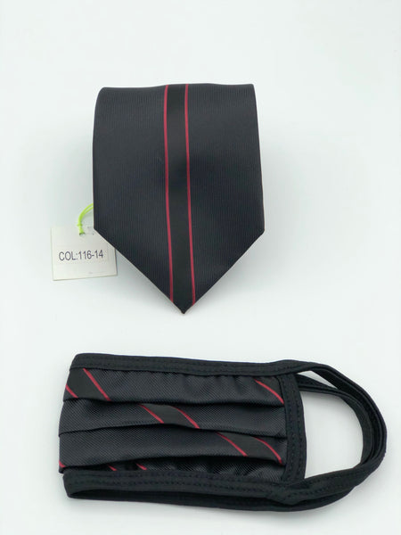 Classic Tie & Face Mask Set, 116-14 Burgundy