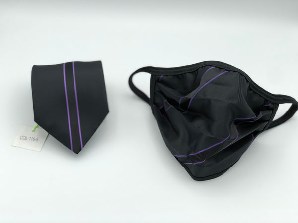 Classic Tie & Face Mask Set, 116-5 Purple