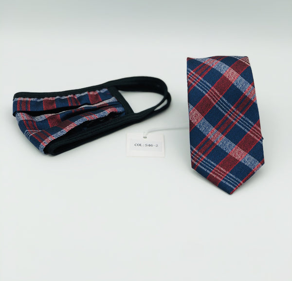 Face Mask & Tie Set S46-2, Red/Navy
