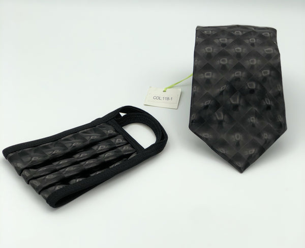 Classic Tie & Face Mask Set, 118-1 Black 3D