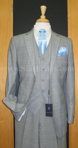 2 Button 3 Piece Grey Plaid Flat Front Suit GT2V-1027