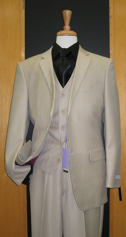 2 Button 3 Piece Sand Color Tone on Tone Wool Blend Flat Front Suit WS2V-7238